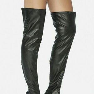 Thigh high boots black 7.5 faux leather